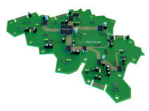 Circuit board shape of belgium map isolate on white background Stock Image