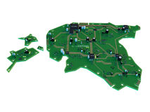 Circuit board shape of estonia map isolate on white background Stock Images