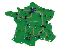 Circuit board shape of france map isolate on white background Royalty Free Stock Photography