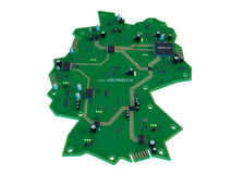 Circuit board shape of germany map isolate on white background Royalty Free Stock Photos