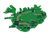 Circuit board shape of  Iceland map isolate on white background Stock Photos