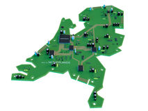 Circuit board shape of netherland map isolate on white backgroun Royalty Free Stock Image
