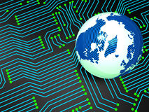 Circuit Board Shows Globally Worldwide And Electronics Royalty Free Stock Photo