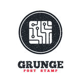 Circuit board sign icon. Technology symbol. Grunge post stamp. Circle banner or label. Circuit board sign icon. Technology scheme square symbol. Dirty textured royalty free illustration