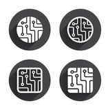 Circuit board signs. Technology scheme icons Stock Image