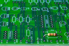 Circuit board with a single resistor in it Royalty Free Stock Images