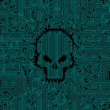 Circuit board skull. Vector illustration of abstract computer circuit board pattern with skull shape in the middle Royalty Free Stock Photo