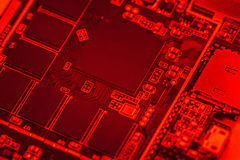 Circuit board, SMT. Circuit board of tablet PC closeup shot Stock Image