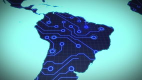 Circuit board south america on blue background