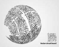 Circuit board sphere. Abstract modern background stock illustration