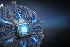 Circuit board system chip with core processor. Spherical compute Royalty Free Stock Image