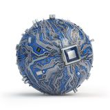 Circuit board system chip with core processor. Spherical compute Royalty Free Stock Photography