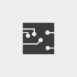 Circuit board, technology icon in a flat design in black color. Vector illustration eps10 Royalty Free Stock Photos