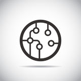 Circuit board, technology icon,  illustration. Flat design style Stock Photography