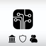 Circuit board, technology icon, vector illustration. Flat design Royalty Free Stock Photos