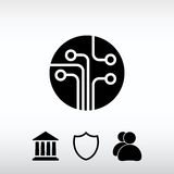 Circuit board, technology icon, vector illustration. Flat design Royalty Free Stock Photo