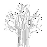 Circuit board tree background. Circuit board texture creative background - stylized tree Royalty Free Stock Photos