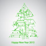Circuit board, Tree for the new year. Eps 10, vector elegant illustration Royalty Free Illustration