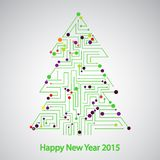 Circuit board, Tree for the new year Stock Photos