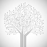 Circuit board tree symbol poster. Abstract computer technology integrated circuit board tree symbol emblem or poster vector illustration Stock Photos