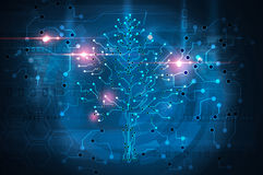 Circuit board tree. Technology background Stock Photography