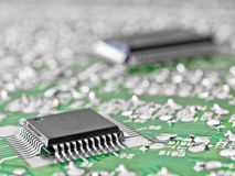 Circuit board with two silicon chips Royalty Free Stock Photography