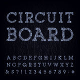 Circuit board type font. Vector Alphabet. Stock Photos
