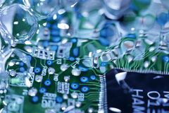 Circuit board under water Royalty Free Stock Photography