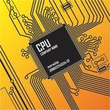 Circuit board vector illustration. Vector illustration depicting printed processor circuit board Royalty Free Stock Image