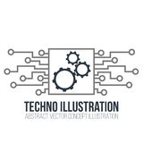 Circuit board vector on white background. Gears, engineering and tech, motherboard and computer design, illustration Stock Photos