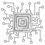 Circuit board  on white background. Processor and chip, engineering and tech, motherboard and computer design, illustration. Circuit board on white background Stock Images