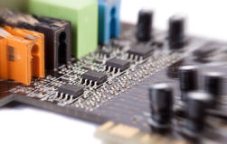 Circuit board (with zoom effect). Circuit board isolated on white background (with zoom effect Royalty Free Stock Photos