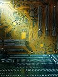 Circuit boards in darkness. Close up of circuit board stock image