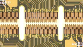 Circuit boards moving by each other on white stock footage