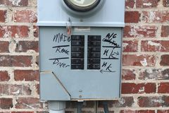 Circuit Breaker panel on outside of house royalty free stock image