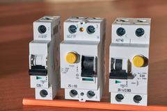 Circuit breaker, residual current device, circuit breaker the differential current royalty free stock image