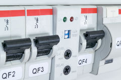 Circuit breakers, differential Automatic switch, the light-sensitive sensor. Modular circuit breakers, differential circuit breaker, residual current device and Stock Images