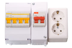 Circuit breakers and electrical outlet Royalty Free Stock Photo