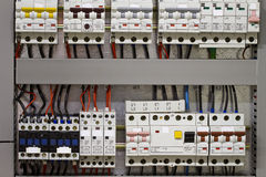 Circuit breakers and electrical wire Stock Photography