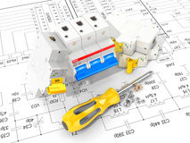 Circuit breakers on the electronic circuit. 3D illustration Stock Images