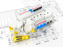 Circuit breakers on the electronic circuit. 3D illustration Royalty Free Stock Photo