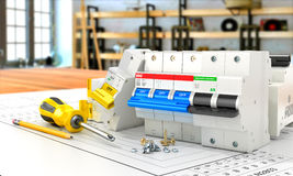 Circuit breakers on the electronic circuit. 3D illustration Royalty Free Stock Photography