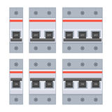 Circuit Breakers Set on White Background. Vector Royalty Free Stock Images