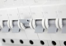 Circuit breakers, toggle off and control of electricity supply, fuse for safety. From electric shock stock images