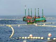 Circuit of buoys with fishing boat and support boat Stock Image