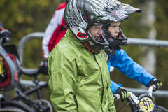 Circuit championship in bmx cycling, excited faces just before t Royalty Free Stock Images