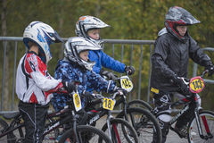 Circuit championship in bmx cycling, excited faces just before t Stock Photography