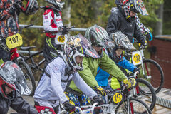 Circuit championship in bmx cycling, excited faces just before t Royalty Free Stock Photos
