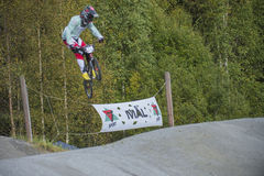 Circuit championship in bmx cycling, full-speed and high jump Royalty Free Stock Photo