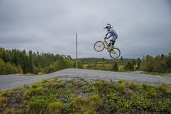 Circuit championship in bmx cycling, full-speed and high jump Stock Images